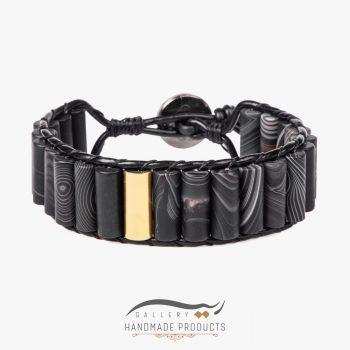 دستبند طلا مردانه چرمی عقیق مات