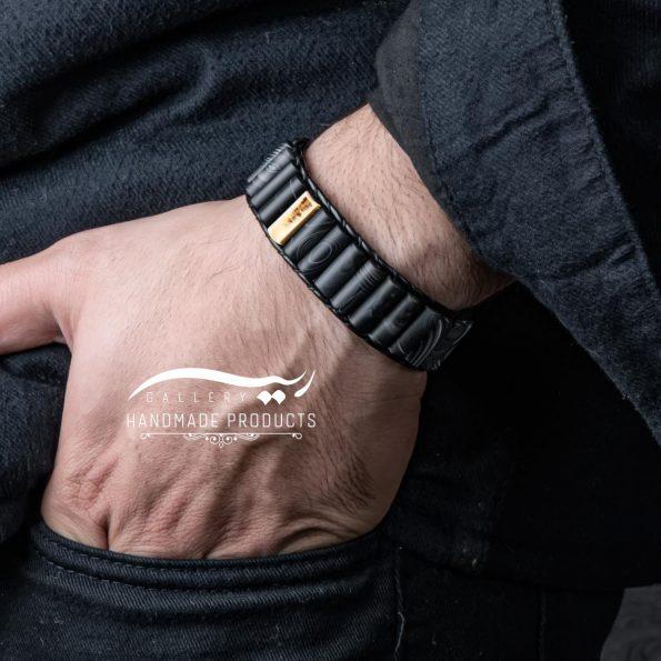 دستبند طلا مردانه چرمی عقیق مات فروشگاه زیورآلات دست ساز ریسه گالری