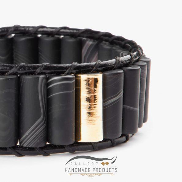 دستبند طلا مردانه چرمی عقیق مات زیورآلات دست ساز ریسه گالری