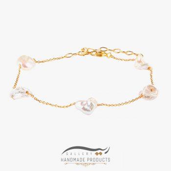 دستبند طلا زنانه مروارید زنجیری