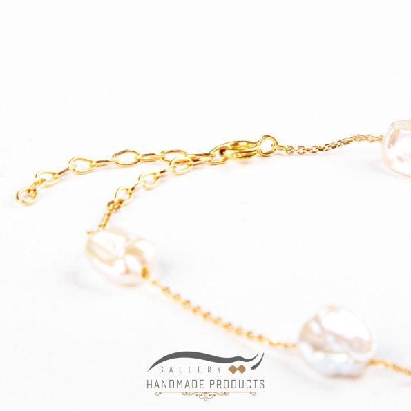 دستبند طلا زنانه مروارید زنجیری فروشگاه ریسه گالری