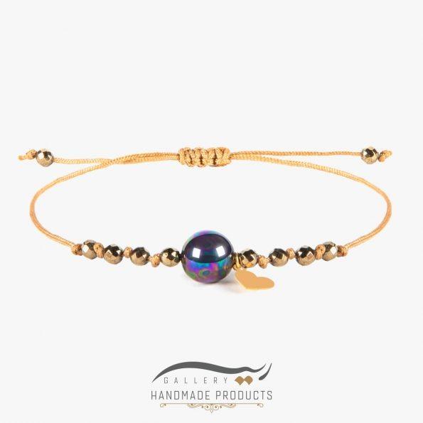 دستبند طلا زنانه گوی صدف بنزینی