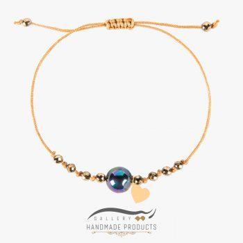 دستبند طلا زنانه گوی صدف بنزینی ریسه گالری