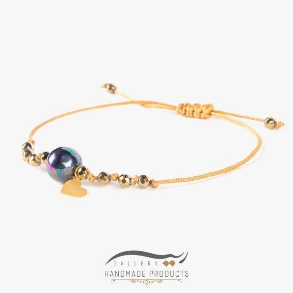 دستبند طلا زنانه گوی صدف بنزینی فروشگاه اینترنتی ریسه گالری