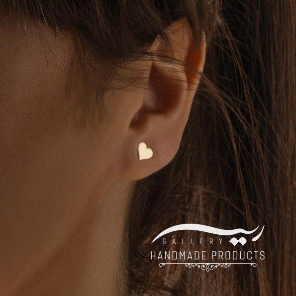 گوشواره طلا زنانه قلب فروشگاه زیورآلات دست ساز ریسه گالری