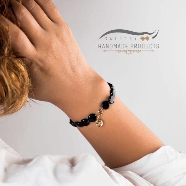 دستبند طلا زنانه ملکه سیاه فروشگاه زیورآلات دست ساز ریسه گالری
