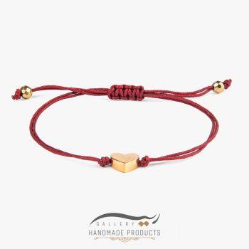 دستبند طلا زنانه قلب قرمز