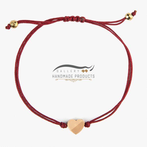 دستبند طلا زنانه قلب قرمز ریسه گالری
