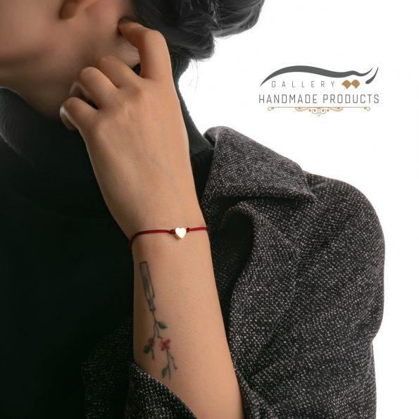 دستبند طلا زنانه قلب قرمز فروشگاه ریسه گالری