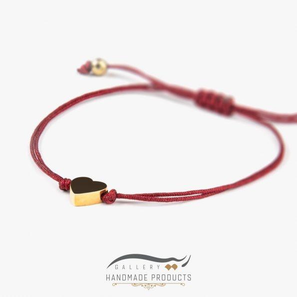 دستبند طلا زنانه قلب قرمز فروشگاه اینترنتی ریسه گالری