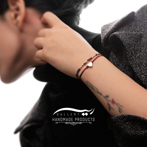 دستبند طلا زنانه قلب قرمز فروشگاه اینترنتی زیورآلات دست ساز ریسه گالری