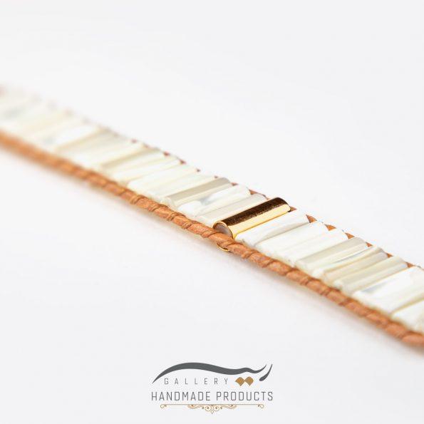 دستبند طلا زنانه چرمی صدفی فروشگاه زیورآلات دست ساز ریسه گالری
