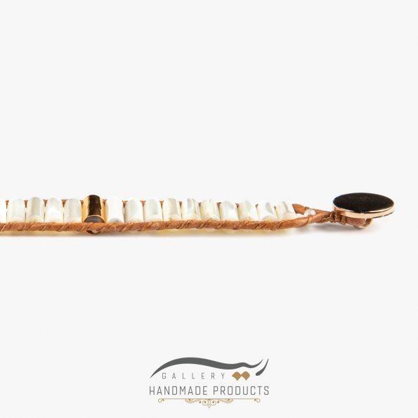 دستبند طلا زنانه چرمی صدفی فروشگاه اینترنتی زیورآلات دست ساز ریسه گالری