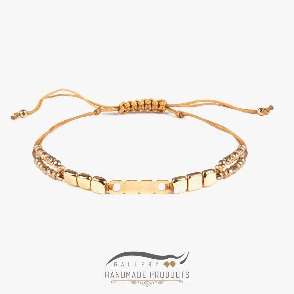 دستبند طلا زنانه طرح سنگ مکعبی
