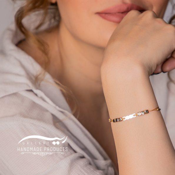 مدل دستبند طلا زنانه طرح سنگ مکعبی