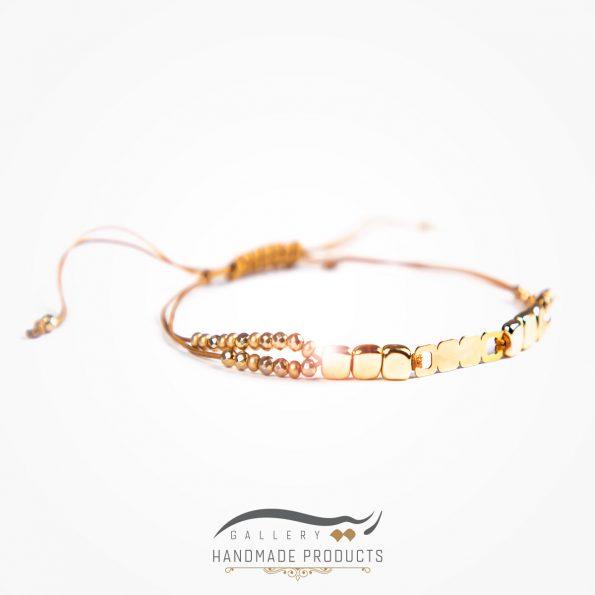 عکس دستبند طلا زنانه مدل طرح سنگ مکعبی