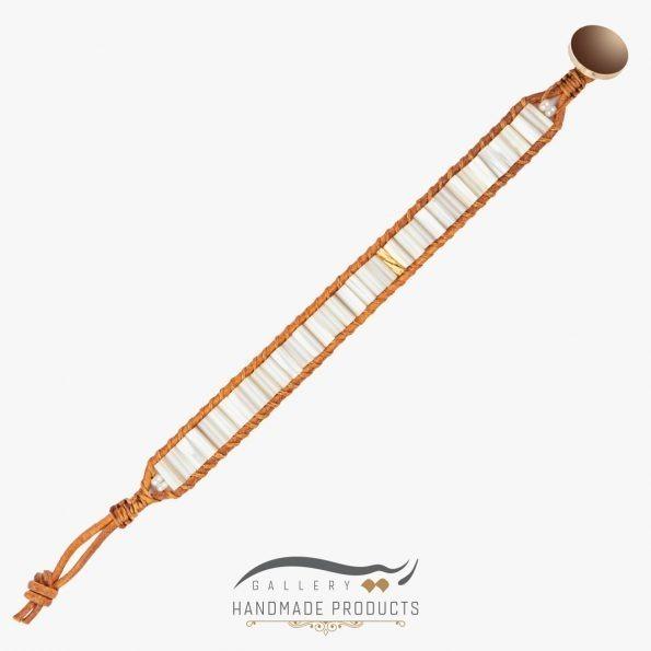 دستبند طلا زنانه چرمی جاسمین زیورآلات دست ساز ریسه گالری