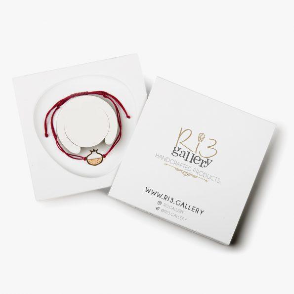بسته بندی دستبند طلا زنانه انار سرخ ریسه گالری