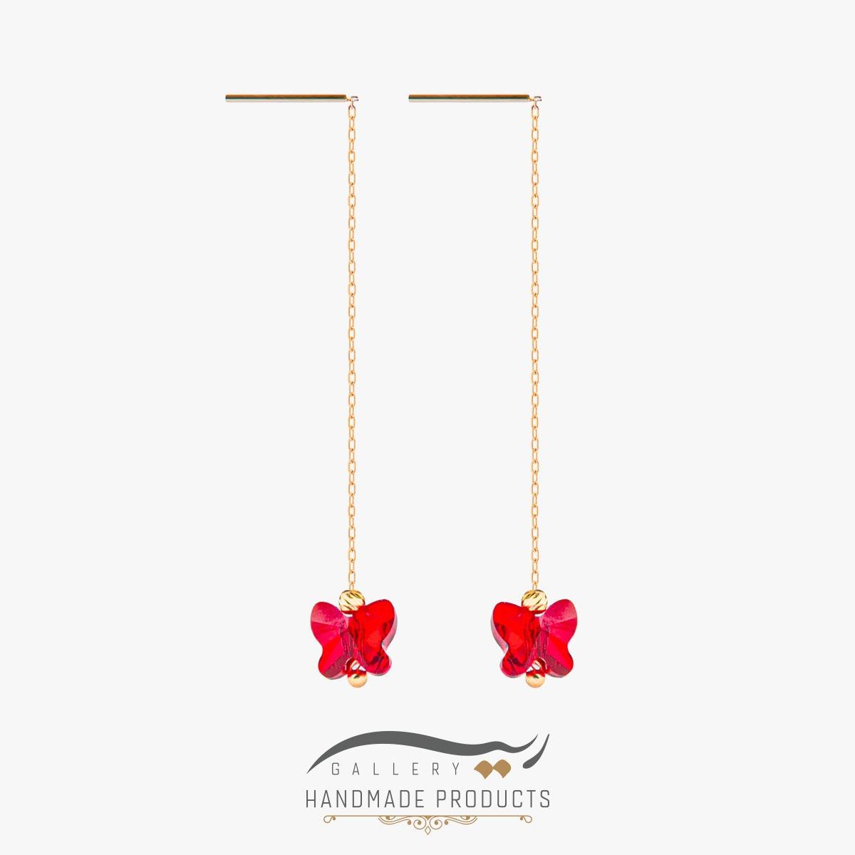 گوشواره طلا زنانه پروانه قرمز