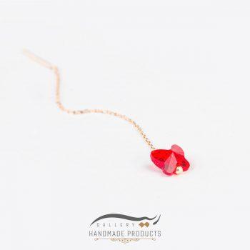 عکس گوشواره طلا زنانه پروانه قرمز ریسه گالری