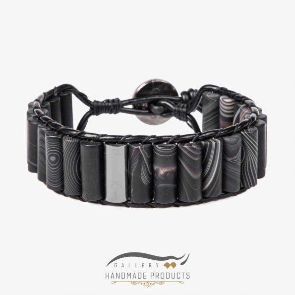 دستبند نقره مردانه چرمی عقیق مات