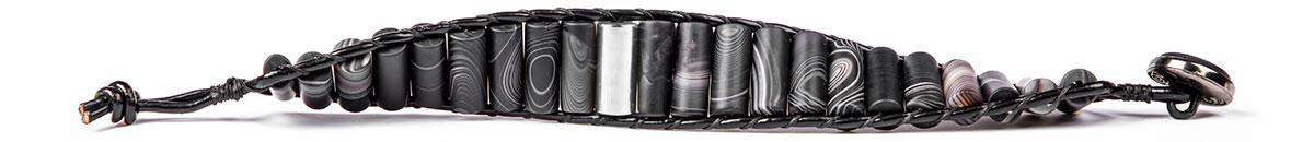 عکس مدل دستبند نقره مردانه چرمی عقیق مات