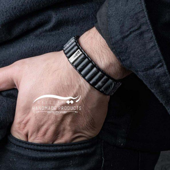 مدل دستبند نقره مردانه چرمی عقیق مات