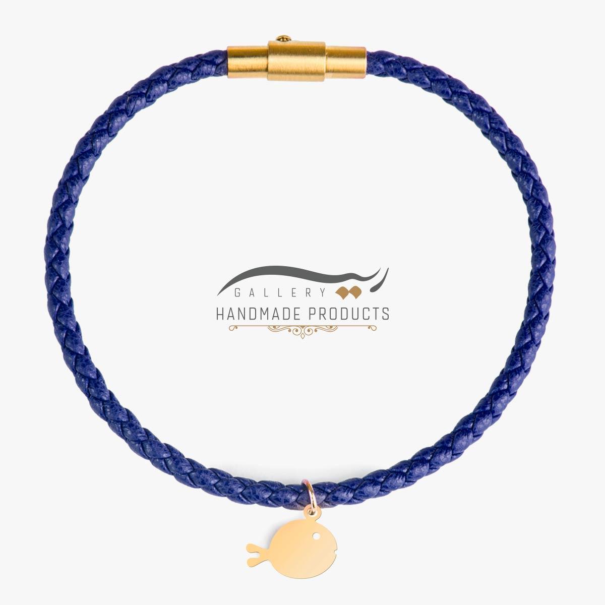 عکس دستبند طلا زنانه ماهی آبی