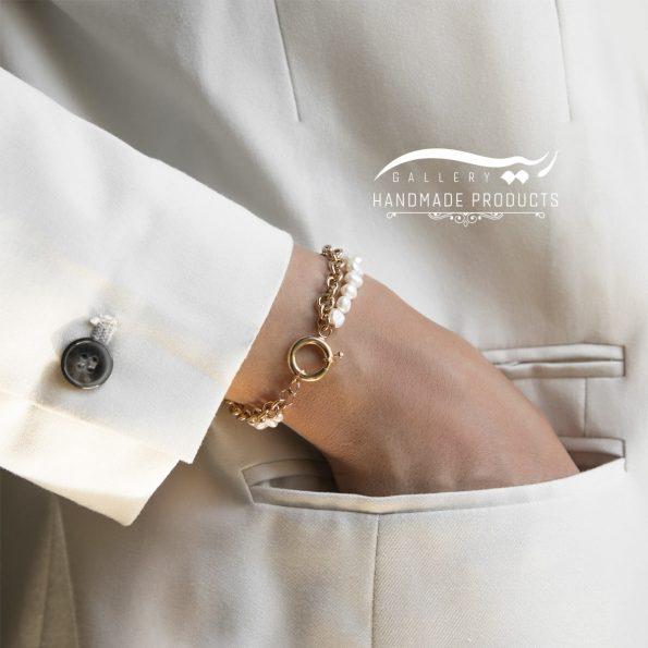 مدل دستبند طلا زنانه رولو مروارید