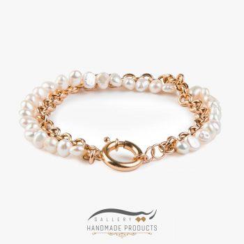دستبند طلا زنانه رولو مروارید