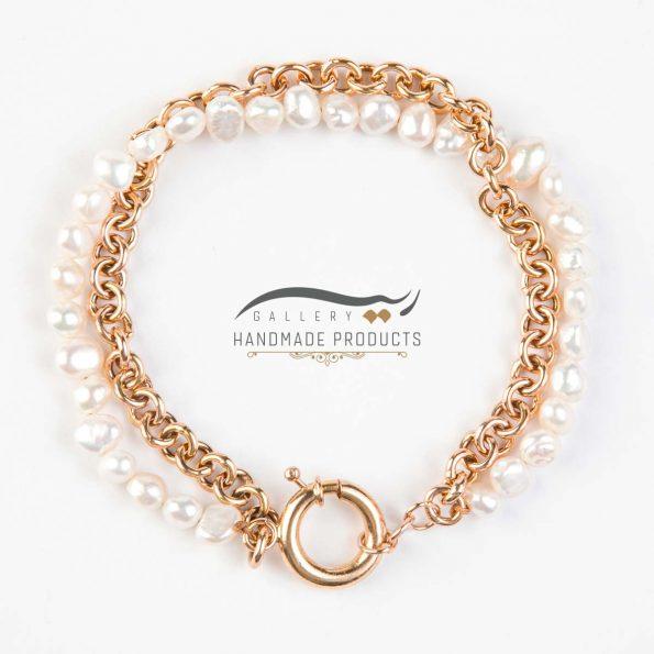 عکس دستبند طلا زنانه رولو مروارید