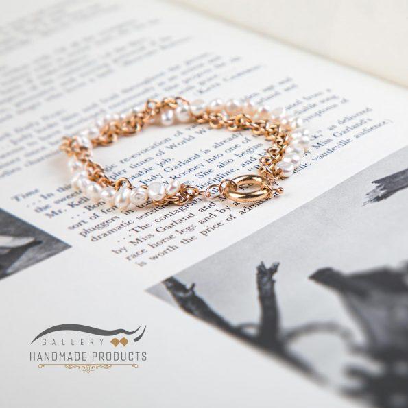 مدل دستبند طلا زنانه رولو مروارید ریسه گالری
