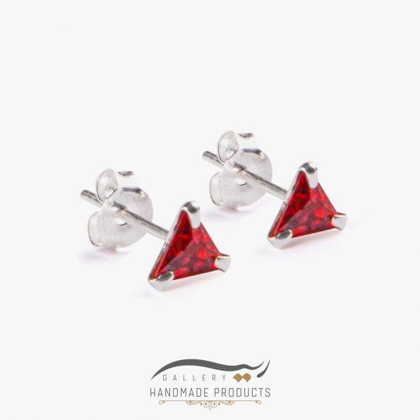 گوشواره نقره زنانه مثلثی قرمز