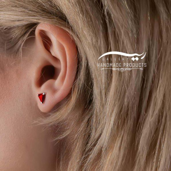 مدل گوشواره نقره زنانه مثلثی قرمز