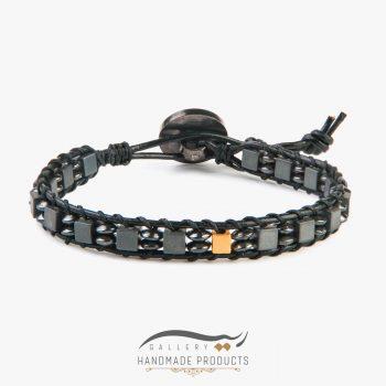 دستبند طلا مردانه چرمی کوبوس
