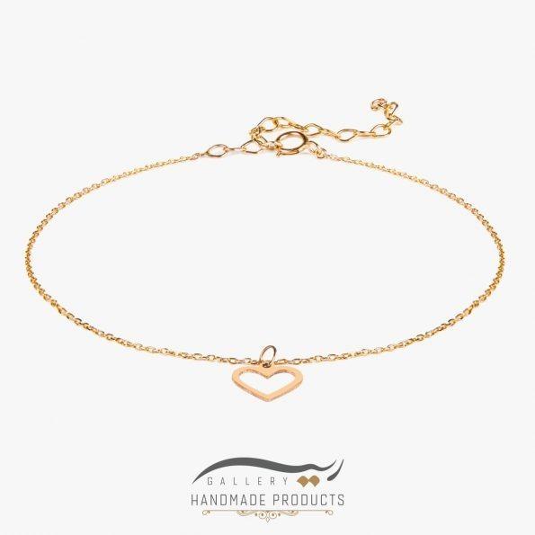 پابند طلا زنانه قلب مینیمال