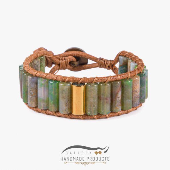 دستبند طلا مردانه چرمی کارائیب