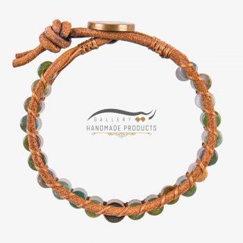 عکس دستبند طلا مردانه چرمی کارائیب