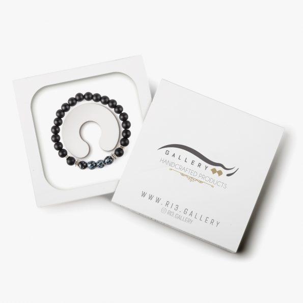 بسته بندی دستبند نقره مردانه چشم شاهین